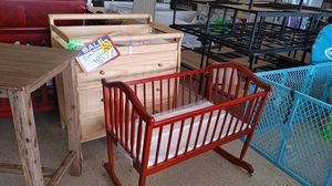 Cherry wood rocking cradle $69.99 with mattress 3 drawer dresser with changing top table $189.99 buy online get delivery for Sale in Phoenix, AZ