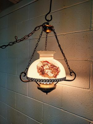Vintage Glass Hanging Lamp for Sale in Pleasant Hill, IA