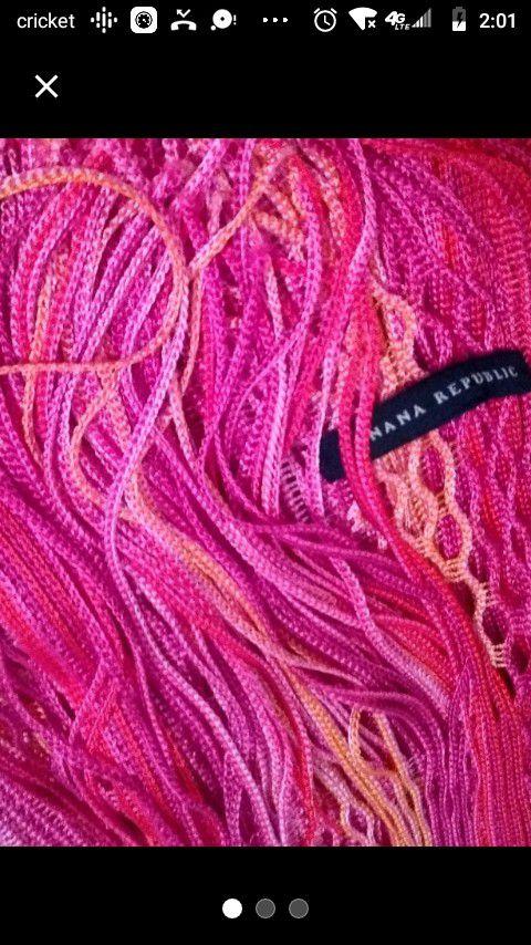 Banana Republic pink fringe designer scarf