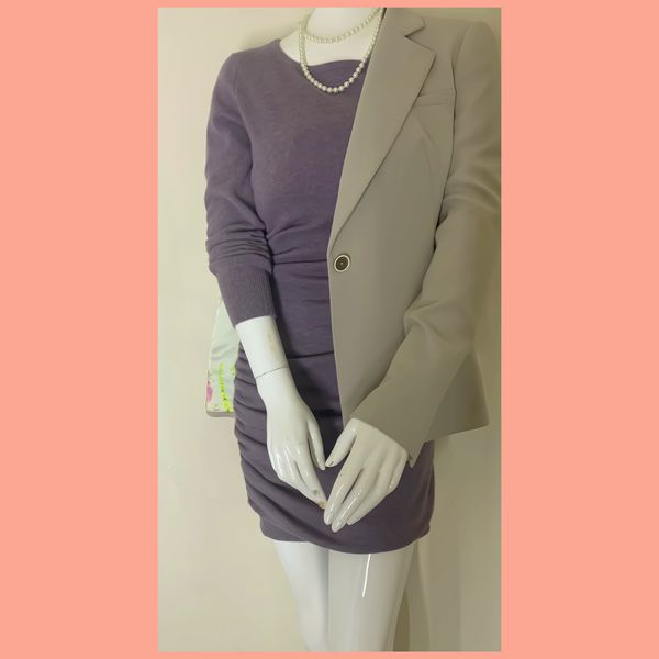 Cashmere sweater Dress long sleeved Purple