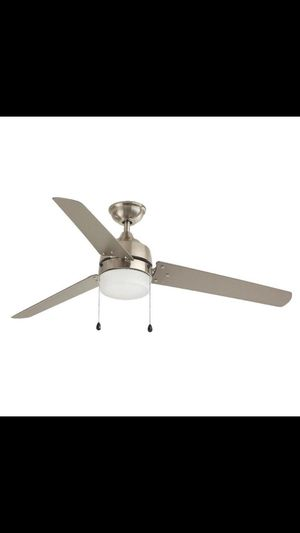 Home Decorators Collection 60 in. Integrated LED Indoor Outdoor Brushed Nickel Ceiling Fan with Light Kit for Sale in Dallas, TX