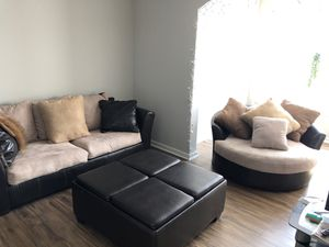 3 Piece Couch, Ottoman, and Swivel Chair - BROWN ESPRESSO & LIGHT TAN for Sale in Atlanta, GA