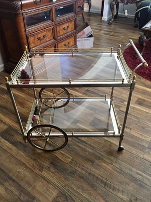 French Louis XVI Madison Jansen Brass Steel Large Rubber Wheel Cocktail/Tea Trolley Ca for Sale in Salem, OR