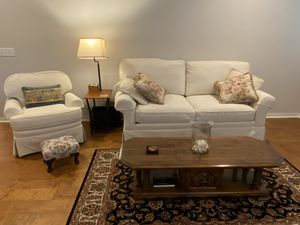 Like New! Century Cream White Couch & Chair. for Sale in Broken Arrow, OK