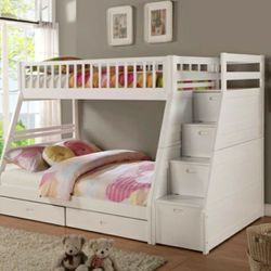 Honey White Twin/Full Storage Stairecase Bunk Bed 👉$39 DOWN payment only 100 days same as cash for Sale in Silver Spring,  MD