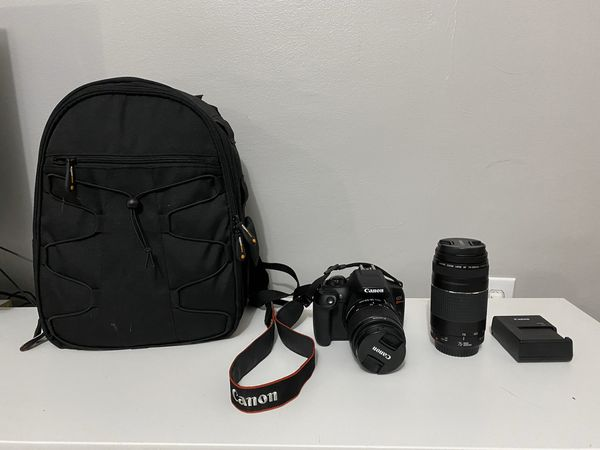 Canon Rebel DSLR T6 with EF 75-300 mm zoom lens and bag