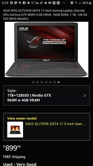 Asus ROG laptop GL752VW for Sale in Cleveland, OH