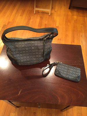 Coach-ergo blue jacquard /leather hobo bag with matching wristlet for Sale in Union, NJ