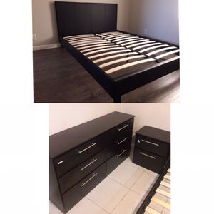 New queen bed frame and dresser and nightstand Mattress is not included for Sale in Hialeah, FL