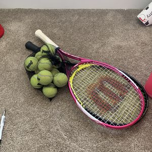 Two Wilson Tennis Rackets with 10 balls for Sale in Silver Spring, MD