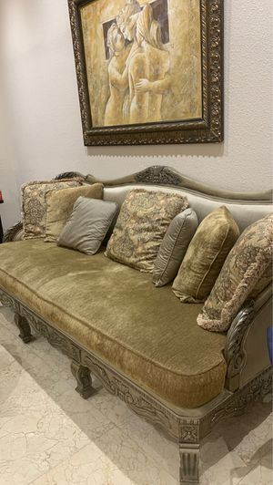 Goose feather couch set, 3 matching tables for Sale in Miami, FL
