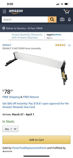DeWalt Table Saw Fence Assembly for DWE7491RS for Sale in El Paso, TX