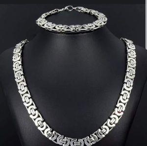 **NEW** Silver Stainless Steel Flat Byzantine Link Chain & Bracelet Set for Sale in Opa-locka, FL