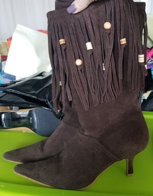 Women's Chocolate Brown Suede Leather Boots with Beaded Fringe sz. 8.5 for Sale in Arvada, CO