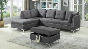 Brand New Grey Linen Sectional Sofa Couch + Storage Ottoman for Sale in Kensington, MD