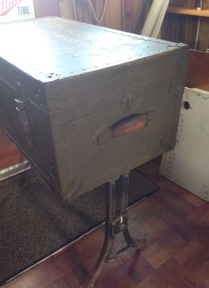 Antique Army trunk and table cast iron legs for Sale in Revere, MA