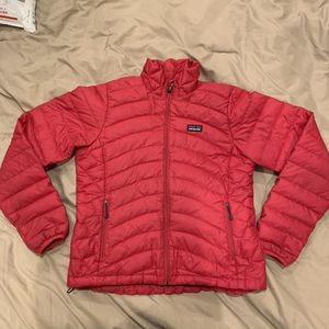 Women's Patagonia Full Zip Medium Jacket Pink Goose Down Puffer Quilted for Sale in Everett, WA
