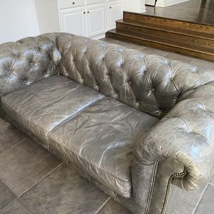 Restoration Hardware Leather Loveseat for Sale in Pittsburgh, PA