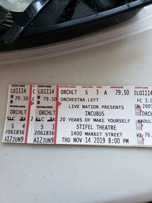 Incubus tickets STL show 11/14 for Sale in Manchester, MO
