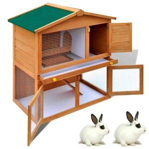 Double Decker Pet Rabbit Hutch Wooden Animal Cage Bunny Chicken House for Sale in Houston, TX