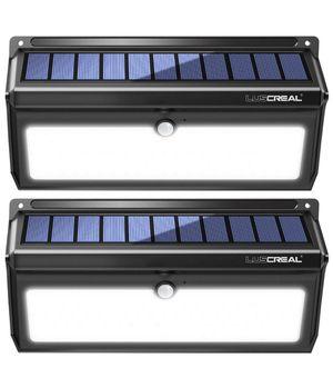 Solar lights Outdoor, Luscreal Super Bright 100 LED Solar Motion Sensor Security Wall Lights for Front Door Back Yard Garage Deck Porch Step Stair Ga for Sale in Plainfield, NJ