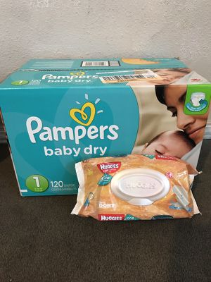 Pampers size one and a pack of wipes for Sale in Spokane, WA