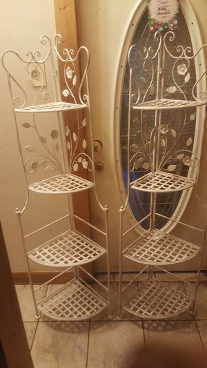 2 metal corner shelves decorative baker's racks for Sale in Chicago, IL