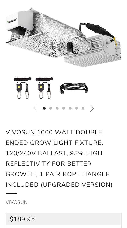 Sealed Grow Room Design: VIVOSUN 1000 Watt Double Ended Grow Light Fixture, 120