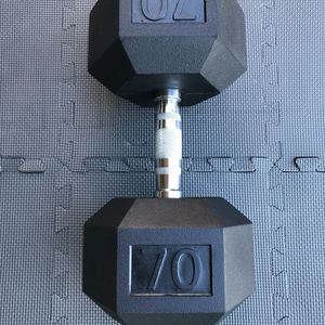 SINGLE 70 POUND DUMBBELL RUBBER HEX WEIGHTS RAGE FITNESS 70LB ROGUE NEW!! for Sale in Long Beach, CA