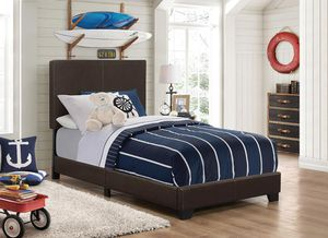 NEW TWIN UPHOLSTERED BED FRAME--BROWN LEATHERETTE for Sale in Antioch, CA