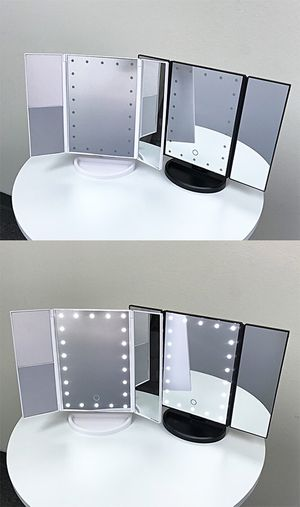 """New in box $20 each Tri-fold LED Vanity Makeup 13.5""""x9.5"""" Beauty Mirror Touch Screen Light up Magnifying for Sale in Whittier, CA"""
