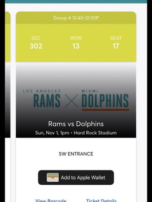 MIAMI DOLPHINS VS RAMS for Sale in Hialeah, FL