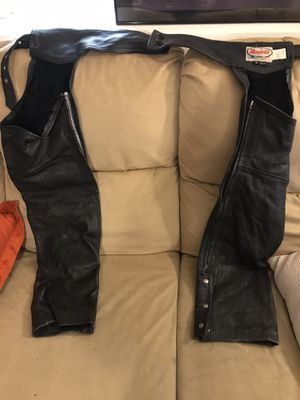 Leather Motorcycle Chaps & 2 Vests Harley Davidson for Sale in Chicago, IL