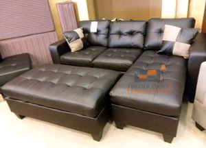 Brand New Espresso Bonded Leather Sectional Sofa Couch + Ottoman for Sale in Washington, DC