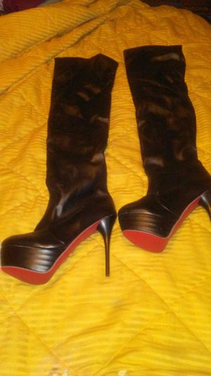 Red bottom black leather thigh high boots for Sale in St. Louis, MO