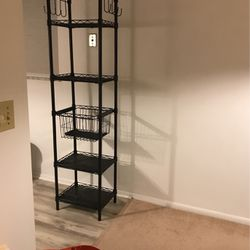 Black Shelving With 1 Pull Out Basket and 8 Hooks for Sale in Vero Beach,  FL