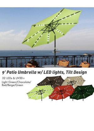NEW Outdoor Umbrella Solar LED Lighted Tilt Crank 9' FT 8 Ribs Garden Backyard Swimming Pool Sunshade BBQ Grill Shade With Lights for Sale in Waco, TX