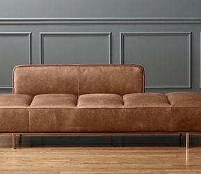CB2 LAWNDALE SADDLE LEATHER DAYBED WITH BRASS BASE for Sale in Boston,  MA