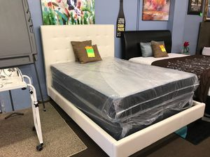White bonded leather for bed frame with new mattress and box spring for Sale in Tampa, FL