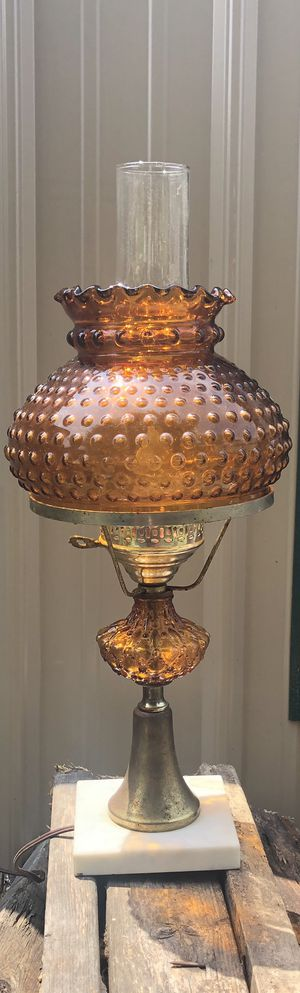 Vintage Amber Hob Nob Hurricane Lamp for Sale in Sandston, VA