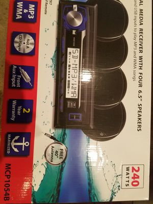 Marine Dual Digital Receiver with 4 6.5inch Speaker for Sale in Houston, TX