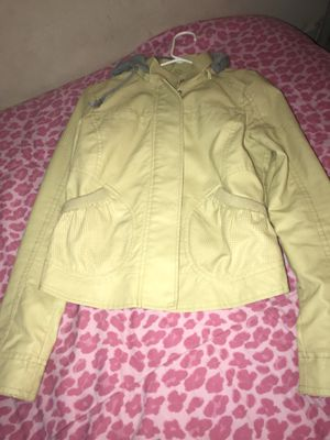Yellow leather jacket with gray hoodie for Sale in Greenbelt, MD