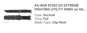 Used, Ka-bar D2 extreme fighting knife for Sale for sale  Wildomar, CA