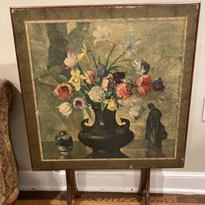 Vintage Ornate 1900-1950 Floral Vatican Wood Folding Card Table for Sale in Naugatuck, CT