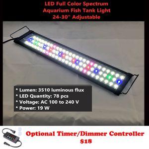 "New LED Full Color Spectrum Aquarium Fish Tank Light Night Day 24-30"" for Sale in Riverside, CA"