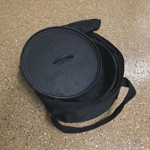 "Camp Chef 12"" Browning Cast Iron Dutch Oven & Carrying Bag for Sale in York, PA"