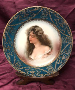 Antique Royal Vienna Style Portrait Cabinet Plate Constance by Josef Riedl M & Z Austria, circa 1890-1910 for Sale in Lancaster, CA