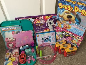 Girls kids toy bundle craft stamps jump rope soggy doggy shopkins game & more for Sale in Stockton, CA