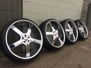 """24"""" chrome wheels Dodge Charger Chrysler 300 tires rims new used 15 17 16 18 19 20 22 24 26 28 35 40 45 50 55 60 65 70 75 80 165 175 185 195 205 215 for Sale in Warren, MI"""