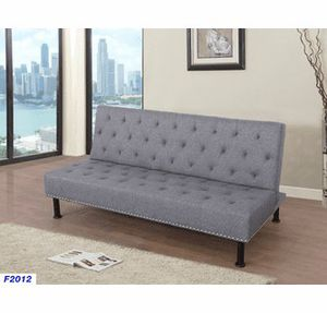 "75"" (6 feet 3 inches) long Grey tufted futon sofa bed (new) for Sale in Colma, CA"